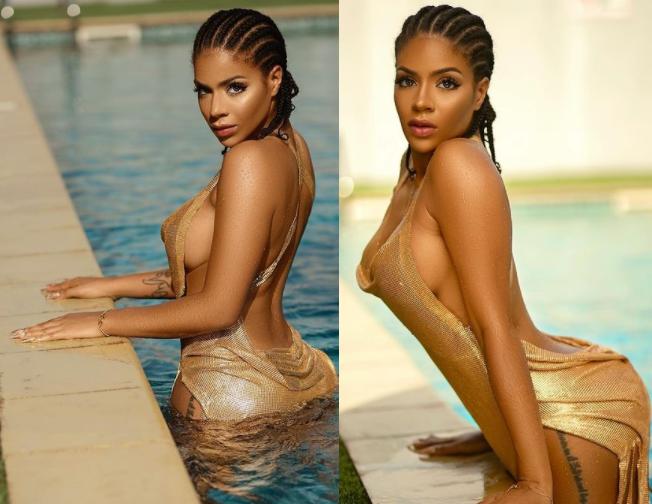 BBNaija's Venita Akpofure flashes her side b00bs in hot pool snaps