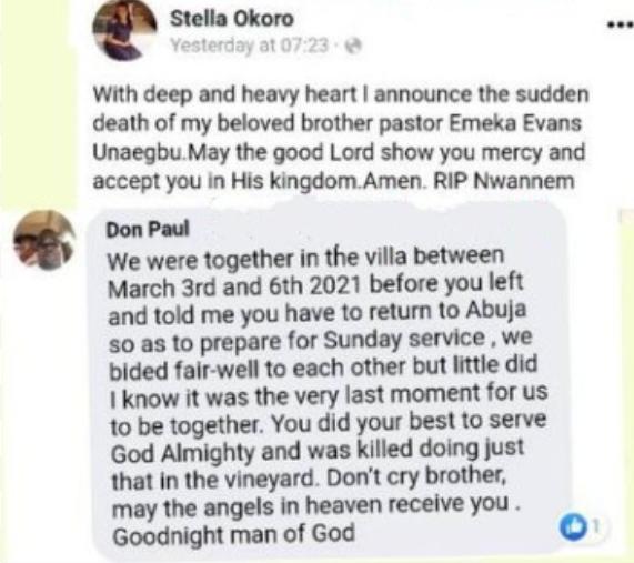 Abuja Pastor killed during vigil inside his church