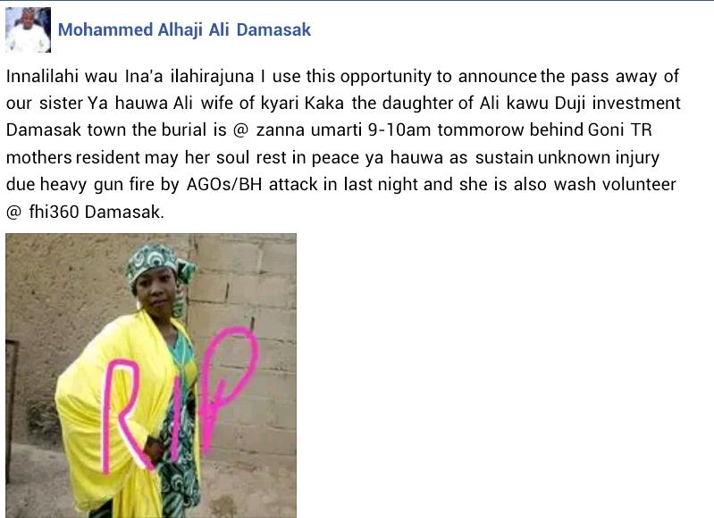 Photo of female volunteer killed in Boko Haram attack on UN facility in Borno