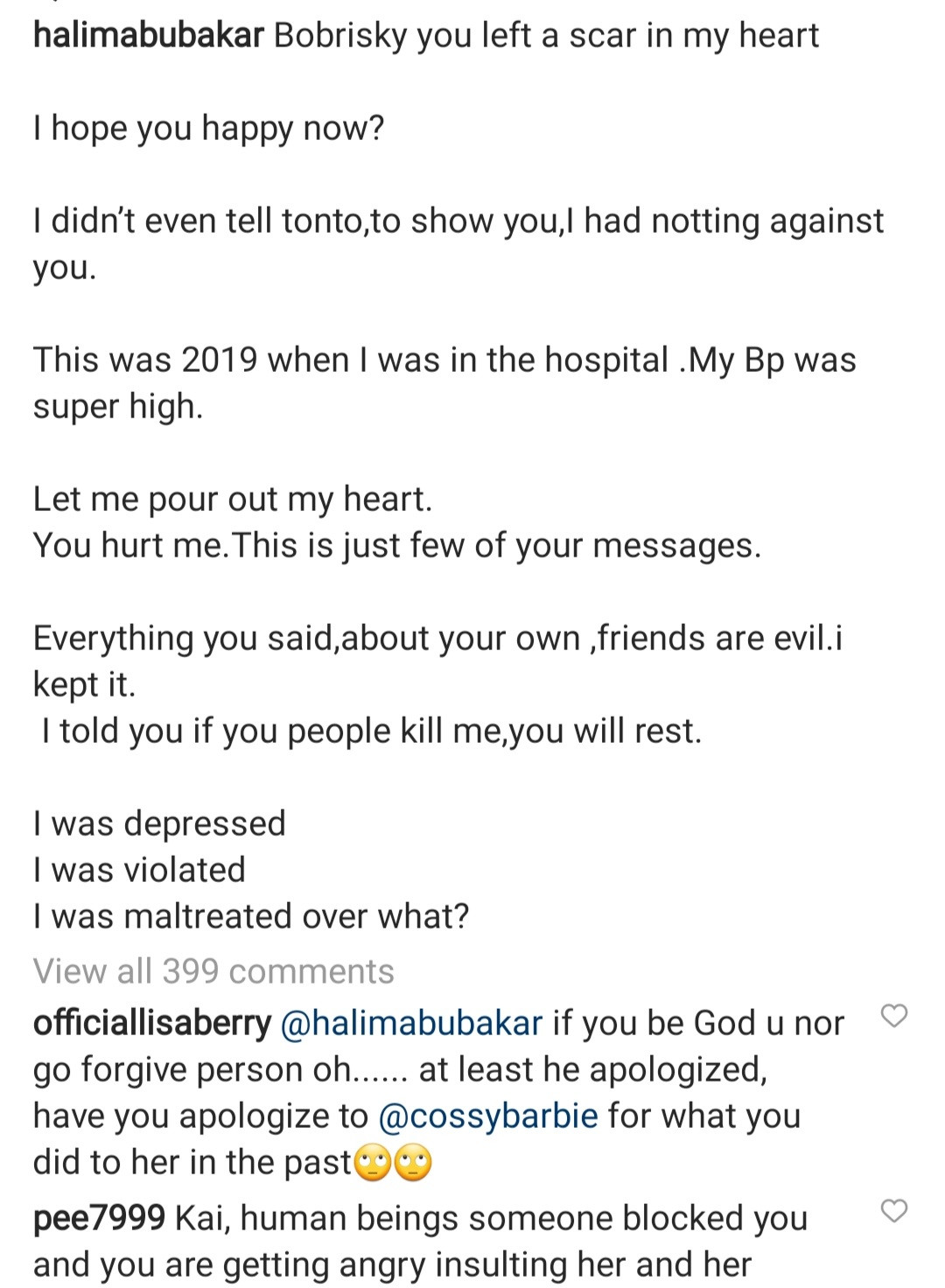 Actress, Halima Abubakar starts spilling; shares heated chats between herself and Bobrisky as she accuses the crossdresser of leaving a scar in her heart