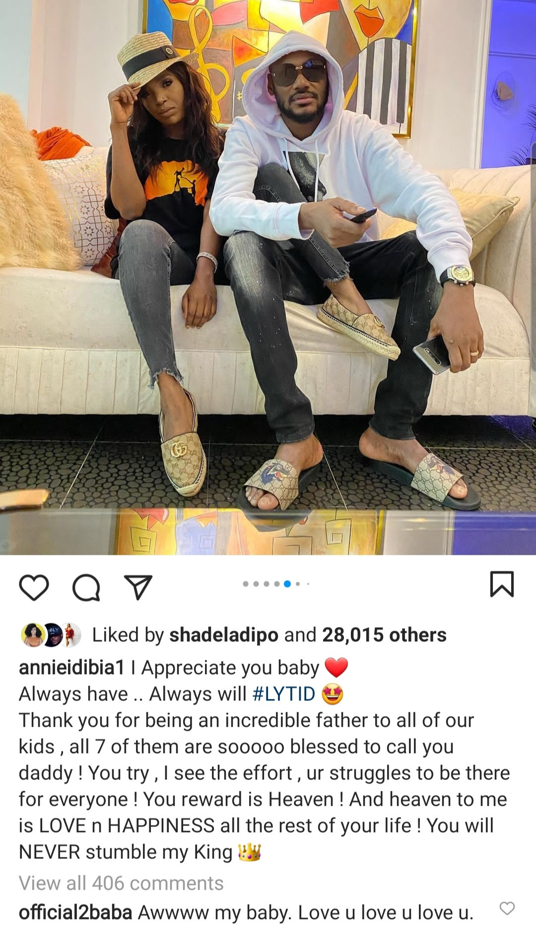 Annie Idibia praises Tuface for being an incredible father to all 7 of his kids after he paid a visit to his kids with Pero Adeniyi