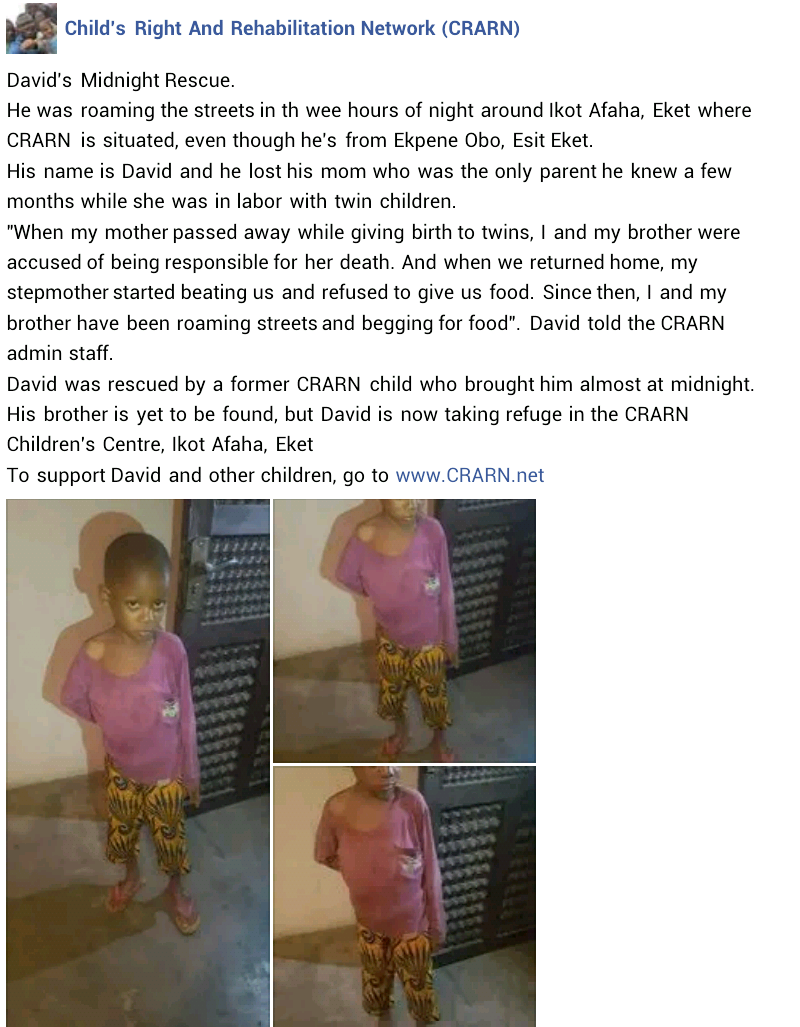 Little boy found roaming the streets in Akwa Ibom after he was allegedly starved, beaten and accused of being responsible for his mother