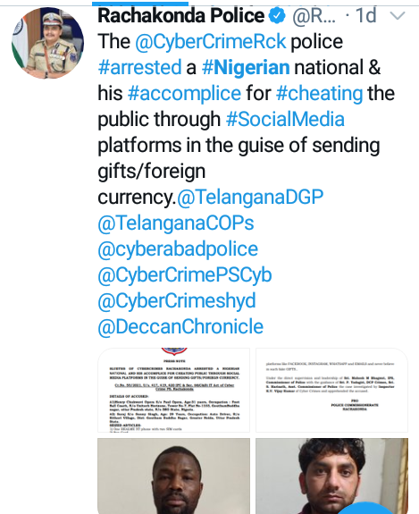 Nigerian football coach, accomplice arrested in India for allegedly duping people through social media on pretext of sending expensive gifts, foreign currency