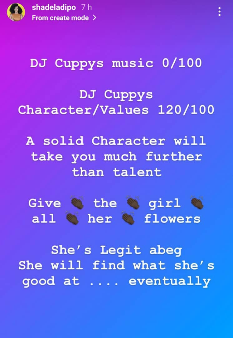 """Give DJ Cuppy all her flowers - Media personality, Shade Ladipo praises the billionaire daughter for her """"character/values"""""""