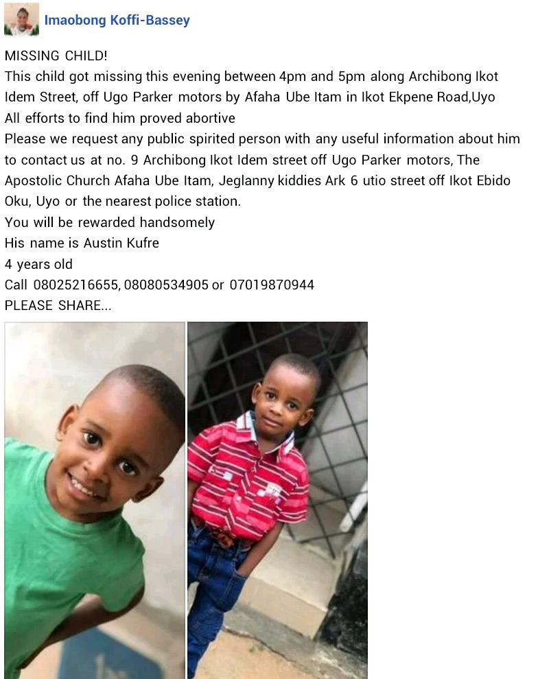 4-year-old boy goes missing in Akwa Ibom