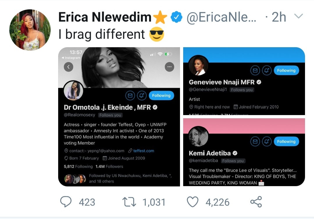 BBNaija star, Erica Nlewedim brags with the caliber of women following her on Twitter
