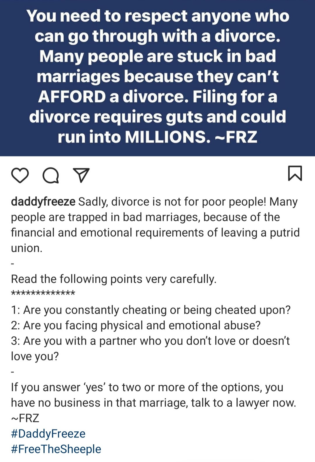 """Respect anyone who can go through with a divorce"" Daddy Freeze says as he lists reasons to file for a divorce"
