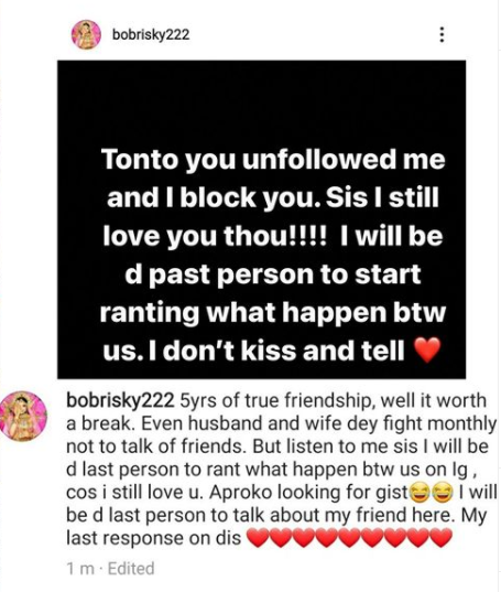 """Tonto you unfollowed me and I blocked you"" Bobrisky confirms he and Tonto have unfollowed each other on IG but promises not to expose what happened between them"