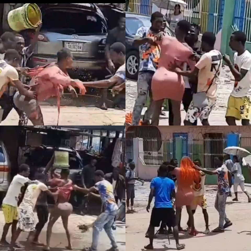 Crossdresser shares video claiming he was attacked by area boys while filming one of his skits in Lagos (videos)