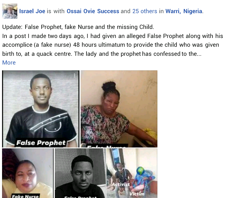 Update: Photos of prophet and his female accomplice accused of stealing newborn baby from the mother in Delta state