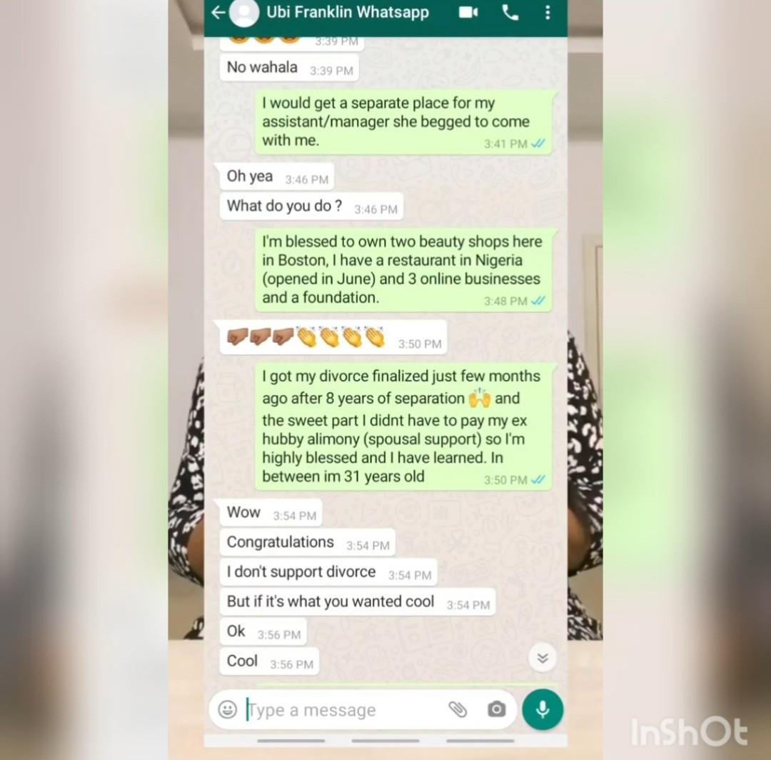Sandra Iheuwa apologizes to Ubi Franklin