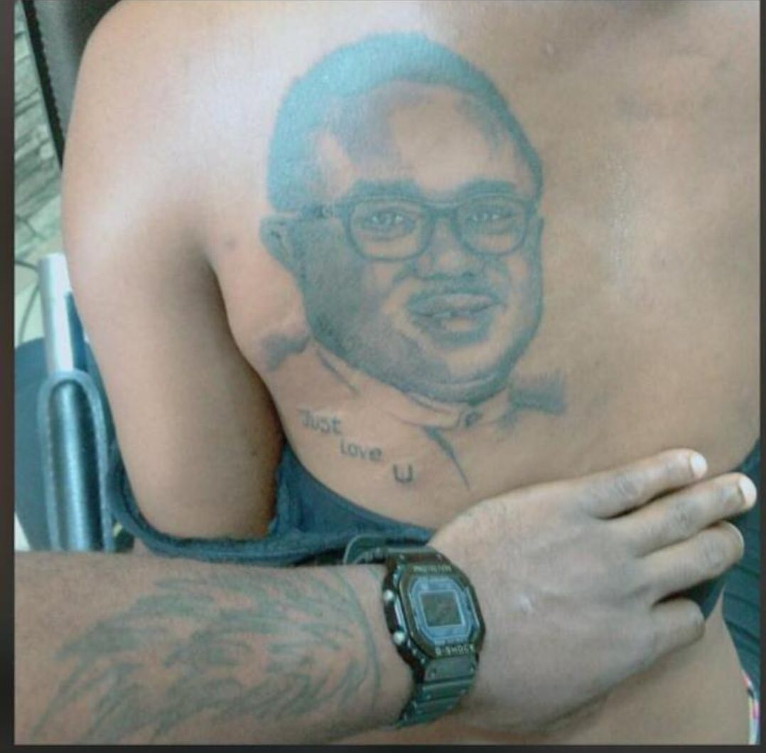 """""""Just Love U"""" - Lady declares her love for Cross River State Governor, Ben Ayade, by getting a tattoo of his face on her back"""