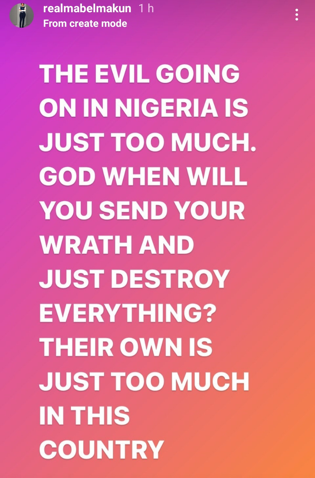 """""""The evil going on in Nigeria is too much"""