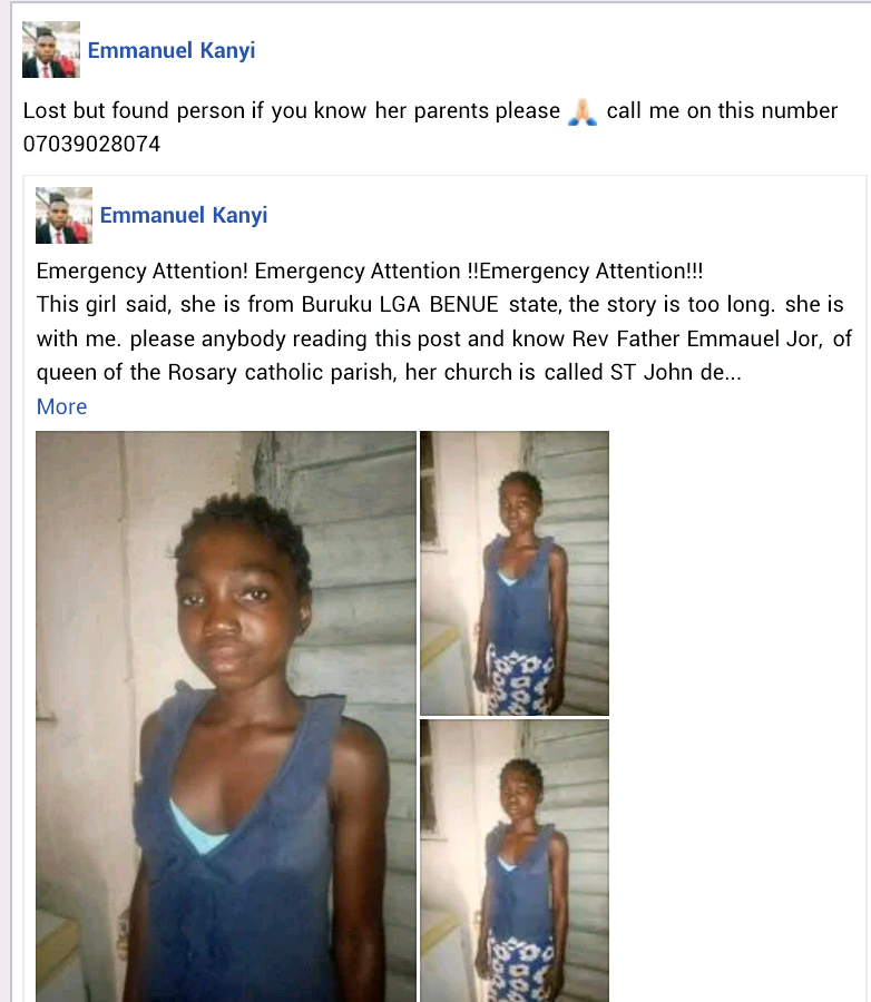 Young girl from Benue seeks help to return to her family after she reportedly left her madam