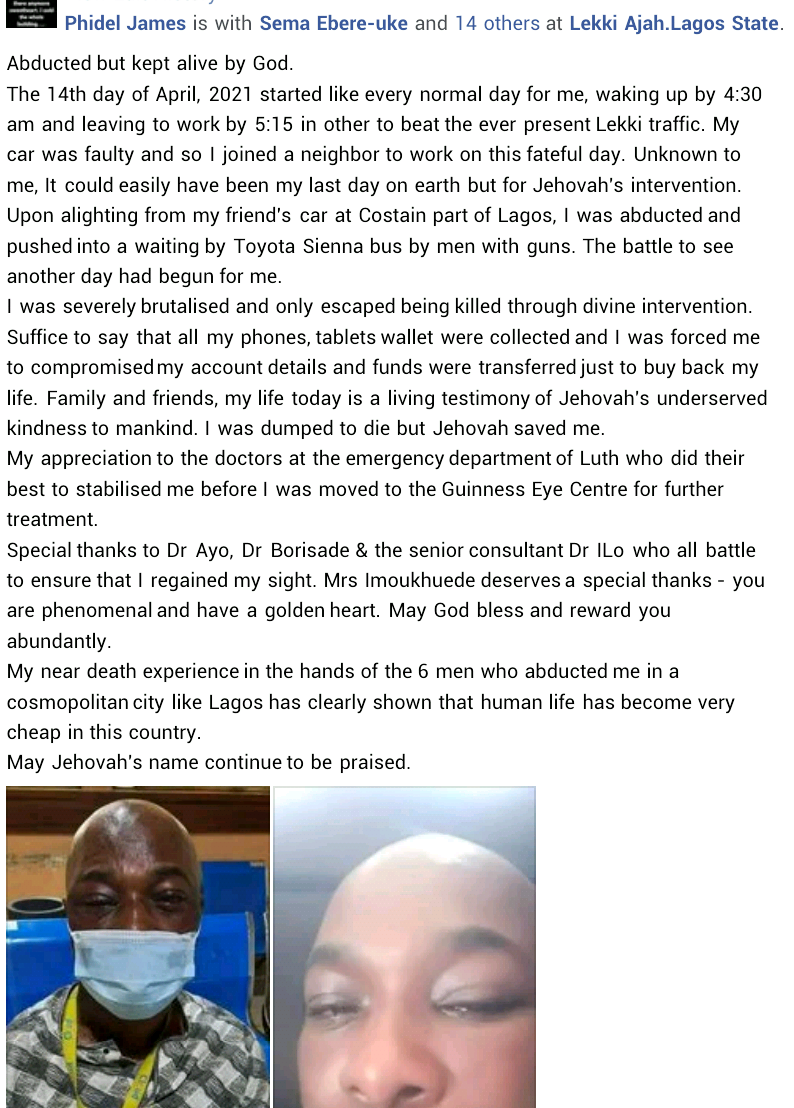 """""""Human life has become very cheap in this country"""" - Man who was abducted in Lagos shares his near-death experience"""