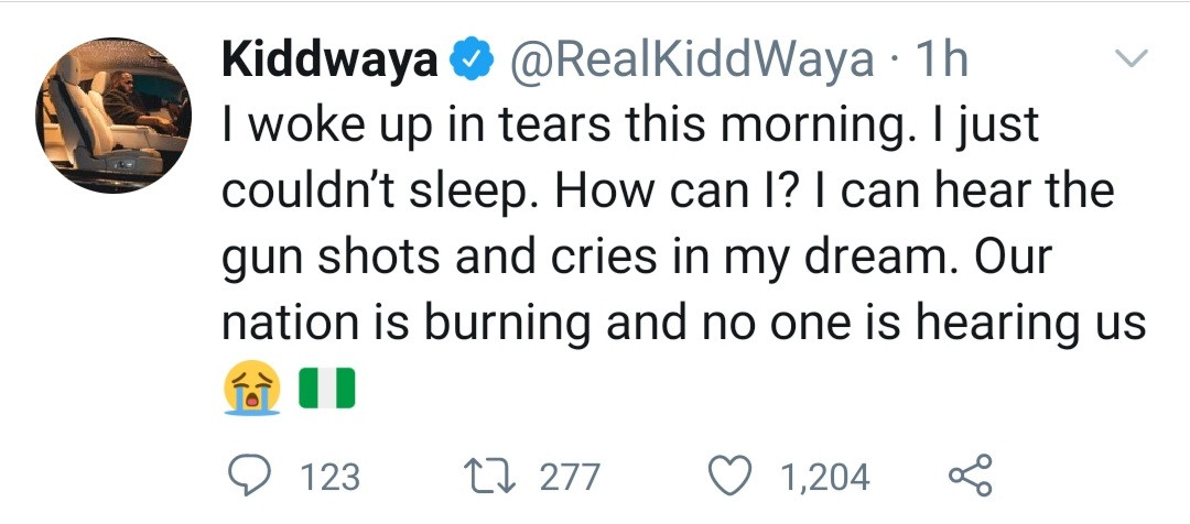 """""""I can hear the gunshots and cries in my dream"""" Kiddwaya shares worry about the current state of Nigeria"""