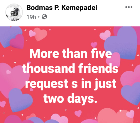 Married Nigerian man claims he got unprecedented number of friend requests from females after advising ladies to share their men with other women