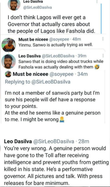 """""""I don?t think Lagos will ever get a Governor that actually cares about the people of Lagos like Fashola did""""- BBNaija star, Leo Da Silva"""