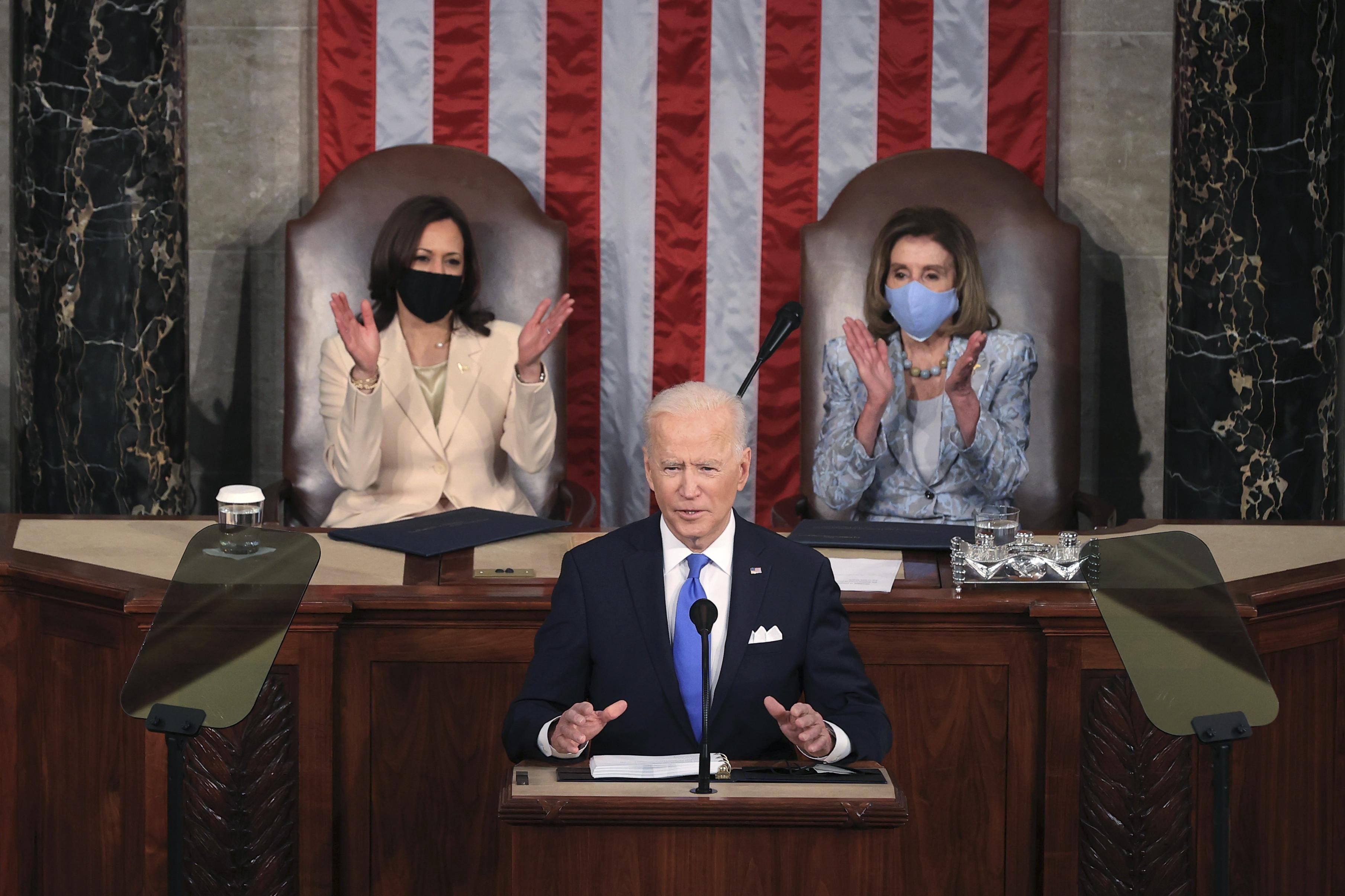 Kamala Harris and Nancy Pelosi make history as the first women to lead Senate at US President Joe Biden