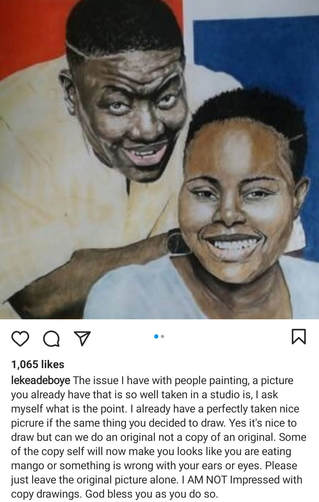 """I am not impressed with copy drawings"" Pastor Leke Adeboye reacts to painting of him and his father"
