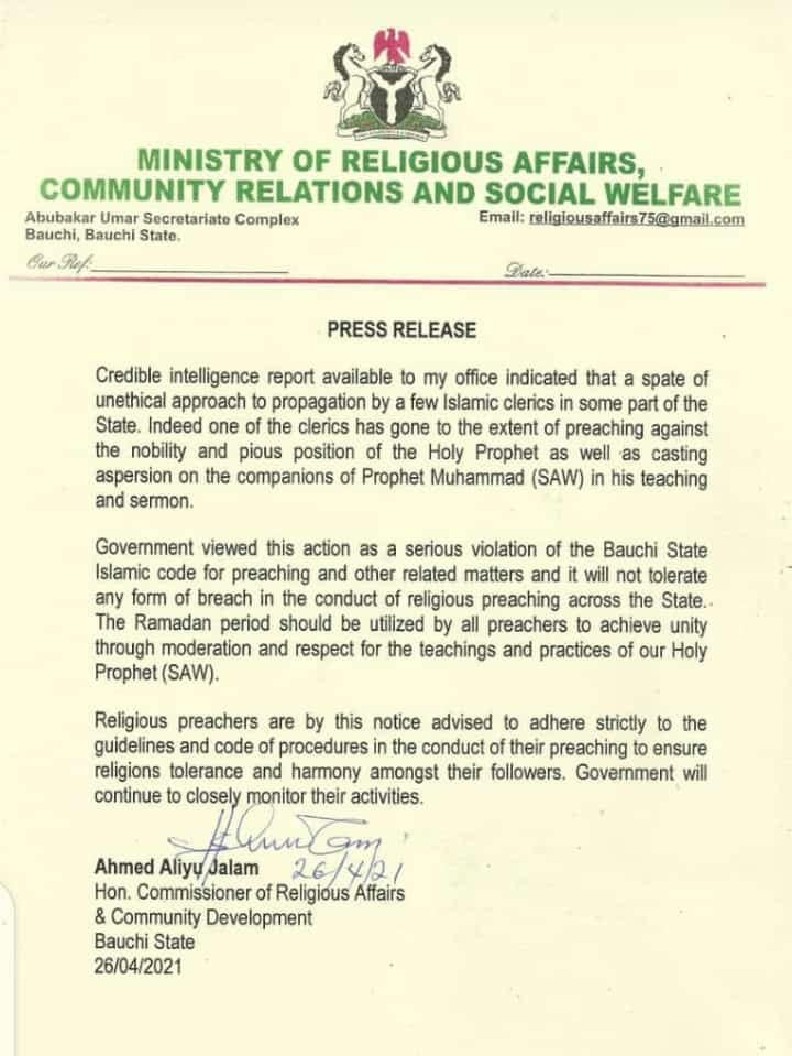 Bauchi State Govt suspends Islamic cleric over alleged inciting preaching