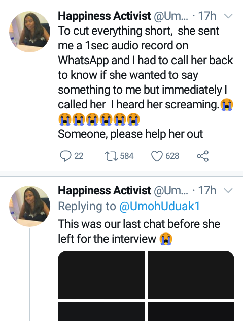 """I called her and heard her screaming"" - Lady raises alarm over the disappearance of her friend after she left home for job interview in Akwa Ibom"