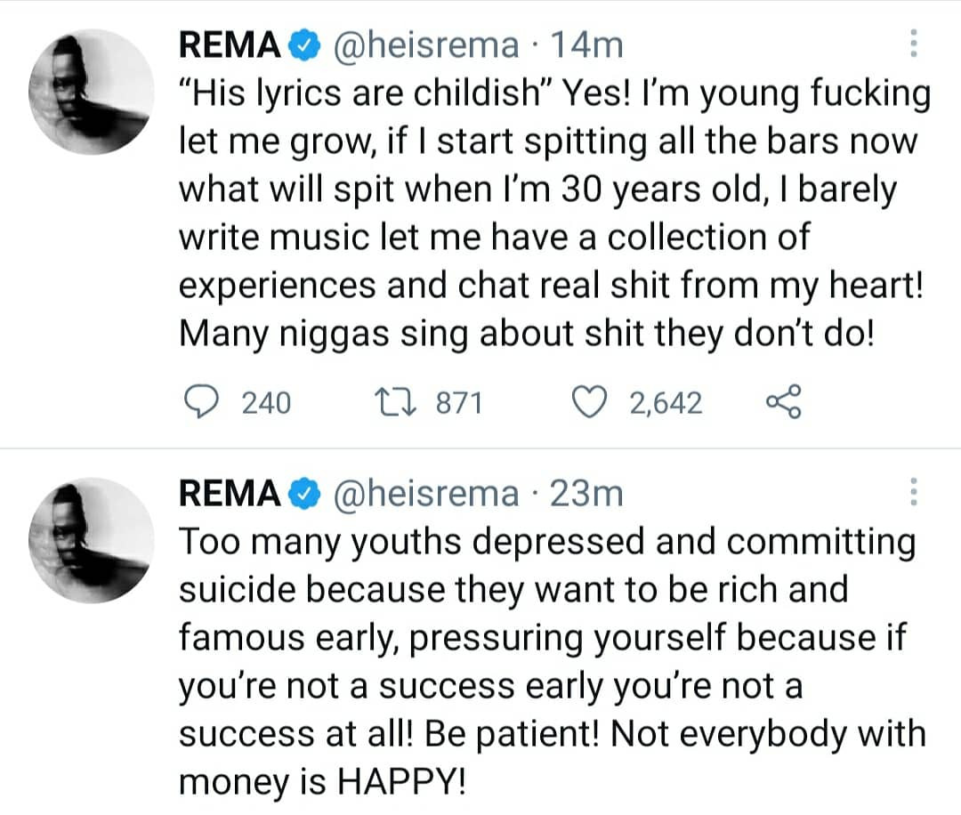 I don?t wanna f*ck around with too many girls. This d*ck is golden - singer Rema shares his thoughts on Twitter