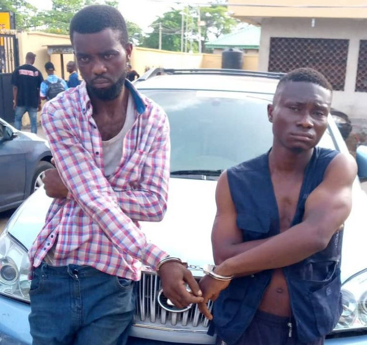 Suspected Lagos robbers, Kelechukwu and Godspower busted with stolen SUV
