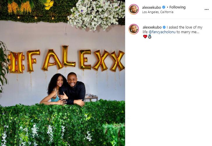 Alex Ekubo announces his engagement to longtime girlfriend, Fancy Acholonu?