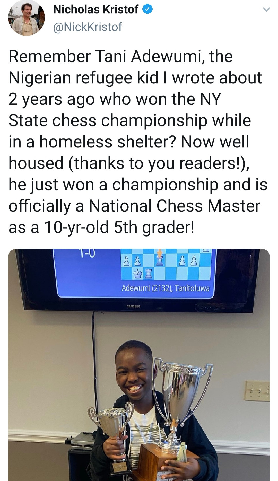 Nigerian refugee, 10, becomes US national chess master