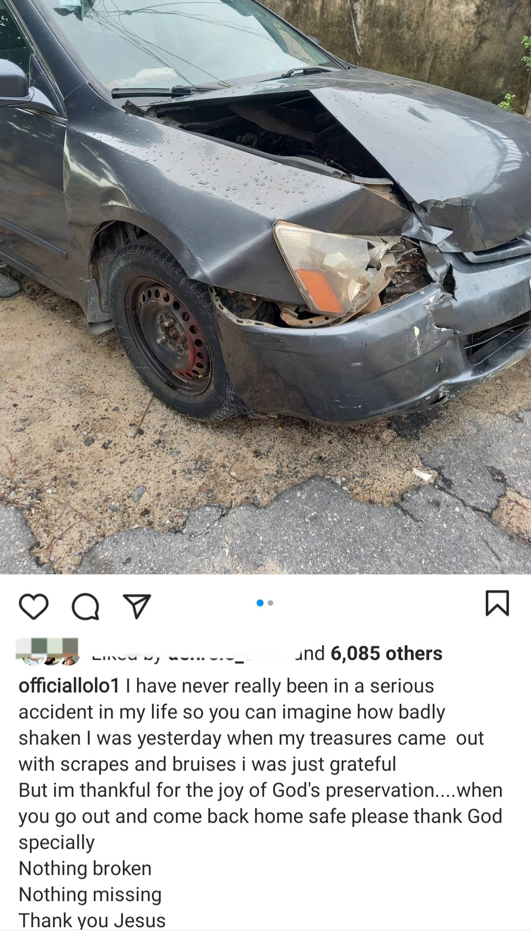 Media personality,  Lolo thanks God as she and her children survive accident