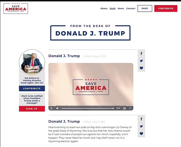 Donald Trump launches new website which lets followers share his posts to Twitter and Facebook