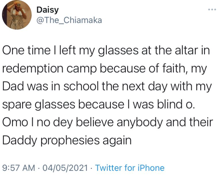 Woman with poor sight recounts incident that made her stop believing in pastors and their prophesies