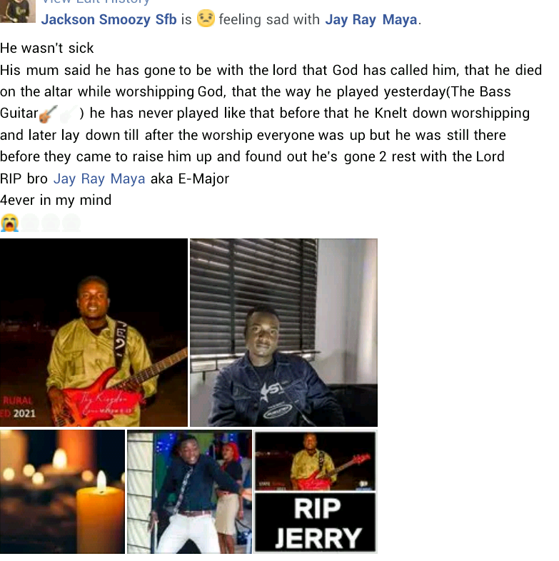 Young Nigerian guitarist allegedly slumps and dies in church while worshipping God