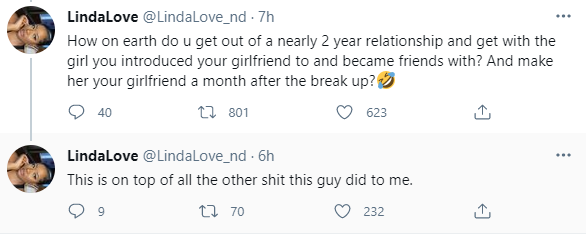 Woman calls out her ex-boyfriend and his new girlfriend who he had introduced to her as a friend while they were still dating