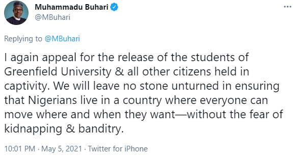 President Buhari appeals for the release of the abducted Greenfield University students
