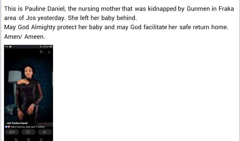 Gunmen kidnap community health officer, nursing mother in Plateau state