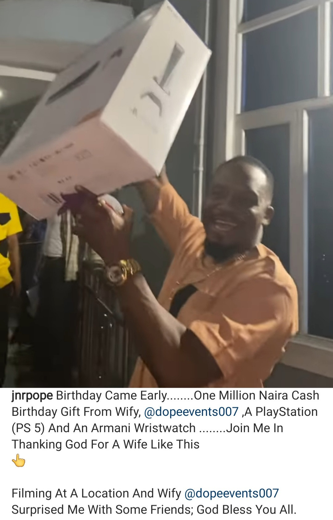 """""""Which kind wife be this?"""" Actor Junior Pope Odonwodo hails his wife as she surprises him on set with Ps5, 1 million Naira, and an Armani watch on his birthday"""