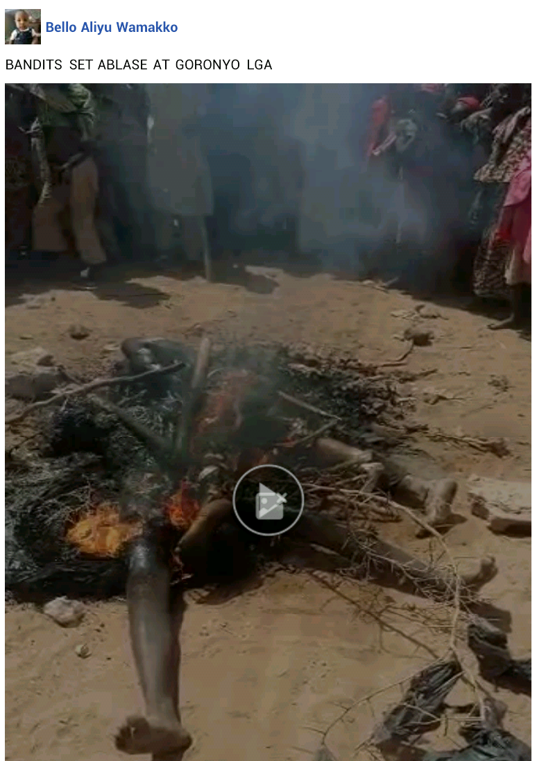Female bandit, two others killed and set ablaze by angry youths after failed attack in Sokoto community (photos)