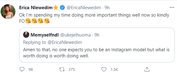 """""""Kindly f*** off"""" Erica responds to Twitter user who asked her to take better pictures"""