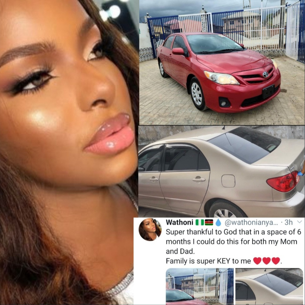 BBNaija star, Wathoni thanks God as she buys her mom and dad a car each