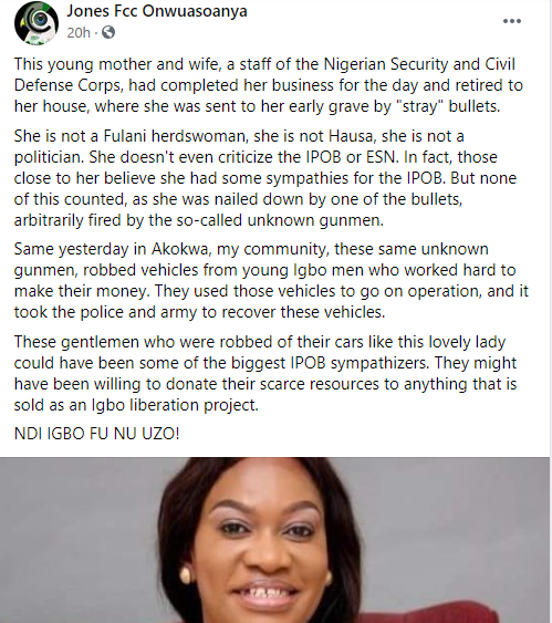 Stray bullet kills NSCDC official inside her home during Army and hoodlums shoot out in Imo state