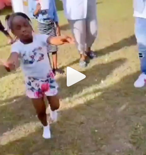 Moment Davido playfully spanked his daughter, Hailey for twerking at her birthday party (video)