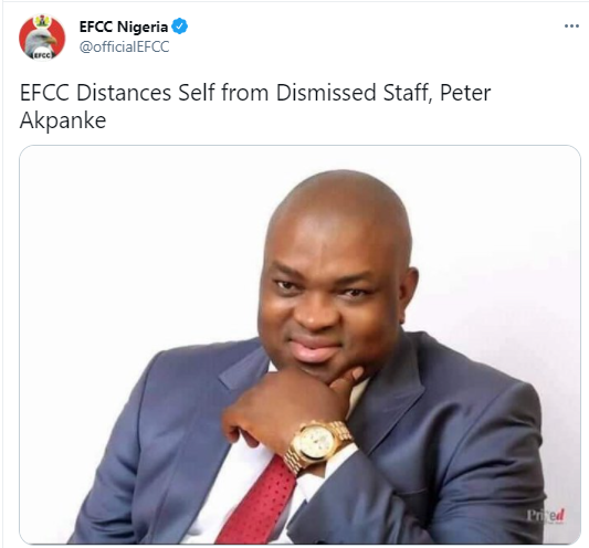 EFCC distances self from dismissed staff who still parades himself as one its operatives