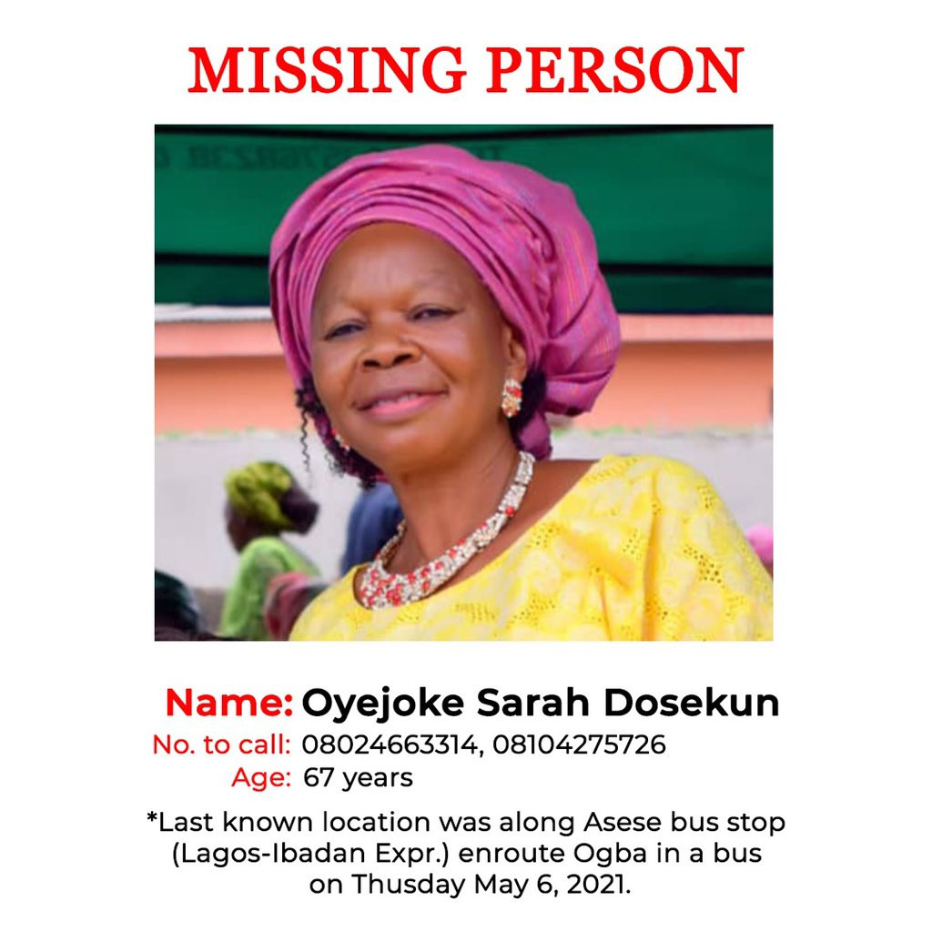Sixty-seven-year old woman, Oyejoke Sarah Dosekun, declared missing