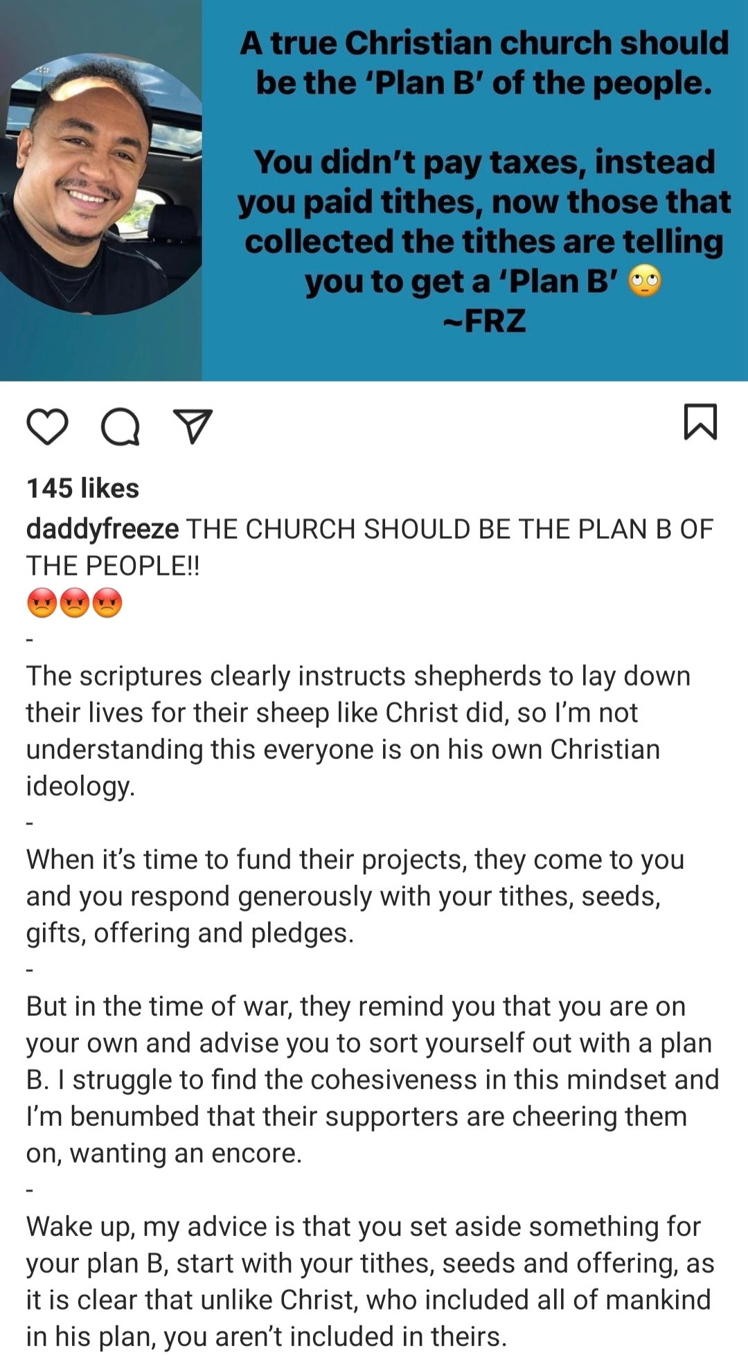 """""""Save your tithe to fund you plan B"""" Freeze reacts to his former pastor, Paul Adefarasin"""