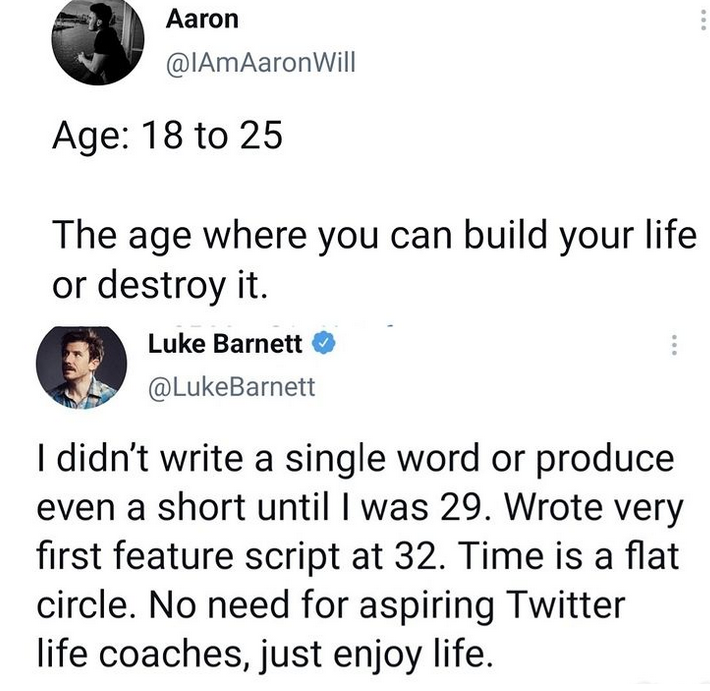 Actor, Luke Barnett replies Twitter user who said 18 - 25 is the age you can