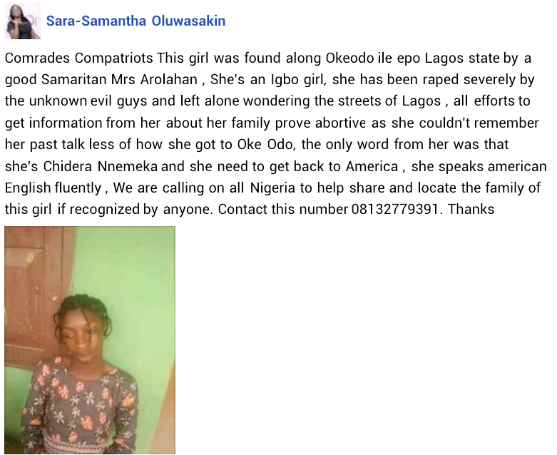 Young lady found wandering the streets of Lagos after allegedly being raped by unknown men