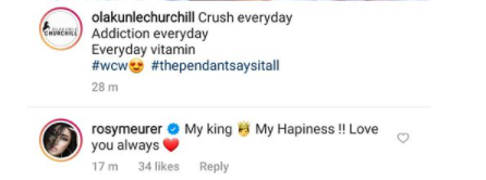 Actress Rosy Meurer and her hubby, Olakunle Churchill, gush about themselves on IG