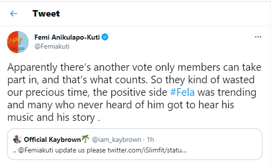 Femi Kuti reacts as his dad, Fela, misses out as an inductee of the 2021 Rock and Roll Hall of Fame despite coming second in the fan vote category